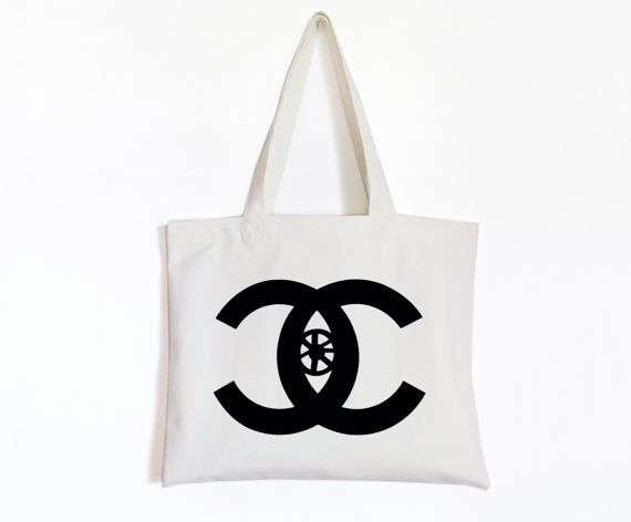Watching you-Canvas tote bag-Homage to Chanel-Logo play by Pionara