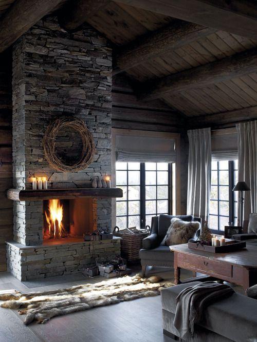 cozy corner room with fireplace. nice.