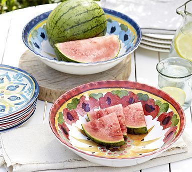 """Cabo Melamine Serve Bowl.  """"Serve up favorite summer dishes in our festive, painterly bowl. The vivid designs are so detailed, they make unbreakable melamine look like real earthenware.""""  #potterybarn"""