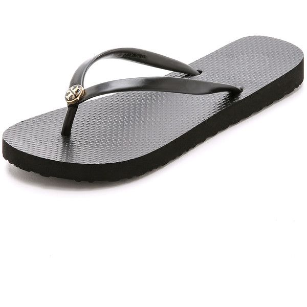 Tory Burch Thin Flip Flops (845 MXN) ❤ liked on Polyvore featuring shoes, sandals, flip flops, black, tory burch, black flip flops, rubber sole shoes, tory burch sandals and black shoes