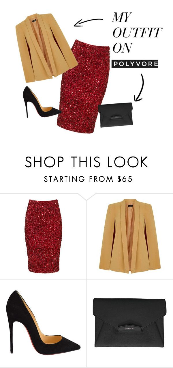 """Cape"" by rosesanders on Polyvore featuring Parker, Miss Selfridge, Christian Louboutin, Givenchy, women's clothing, women's fashion, women, female, woman and misses"