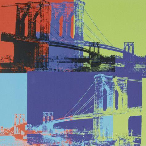 ブルックリン橋|Brooklyn Bridge, 1983 (オレンジ, ブルー, ライム) アートプリント