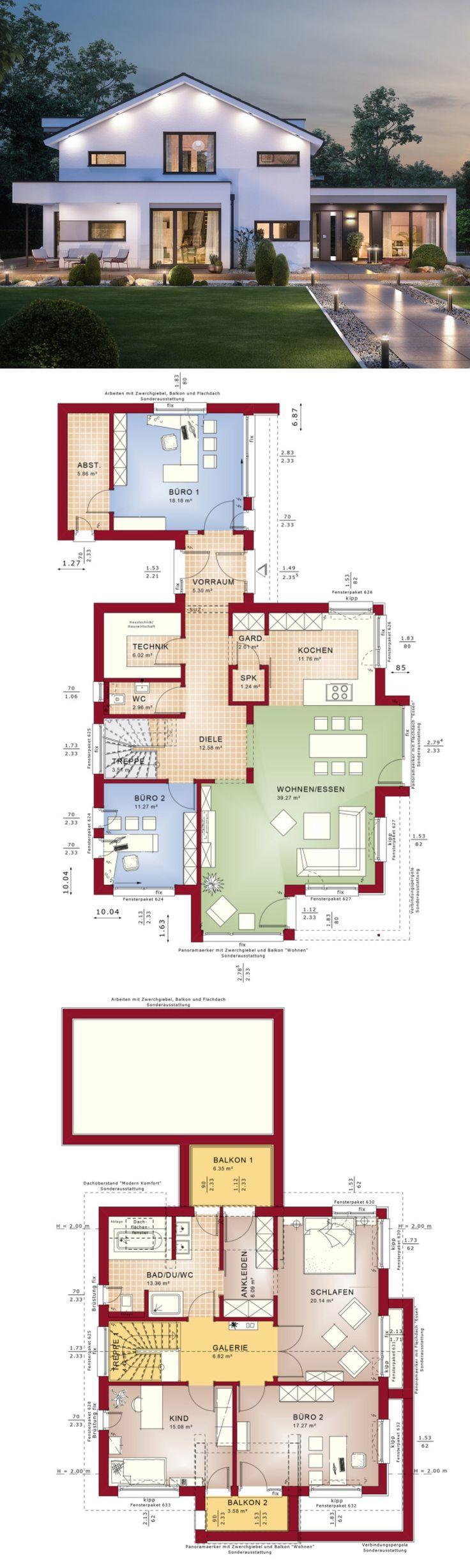 Modernes Design Haus mit Satteldach Architektur & Büro Anbau – Einfamilienhaus bauen Grundriss Fertighaus Concept-M 166 Bien Zenker Hausbau Ideen – HausbauDirekt.de – Jessica