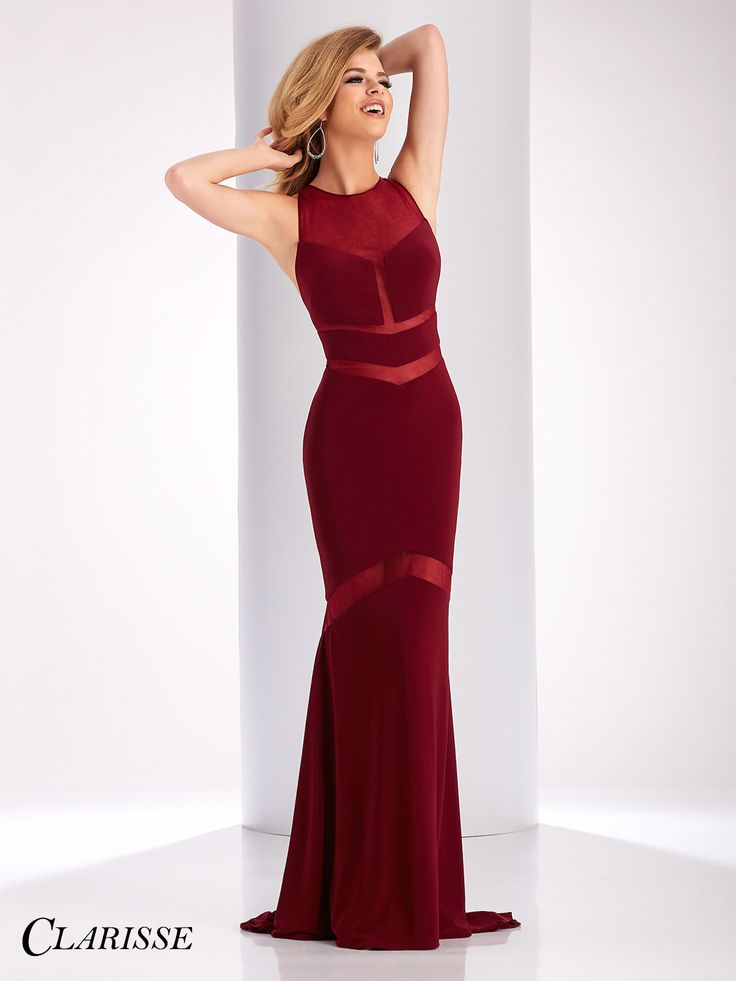 Clarisse 2017 prom dress 3043. Sexy fitted prom dress with sheer detail in burgundy | Promgirl.net