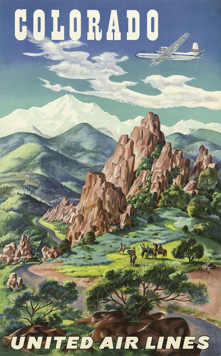 Vintage United Airlines Travel Poster Colorado