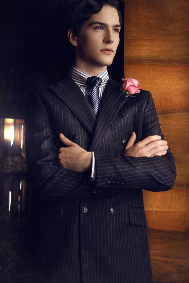 De La Garza pinstripe double breasted suit for fashion magazine