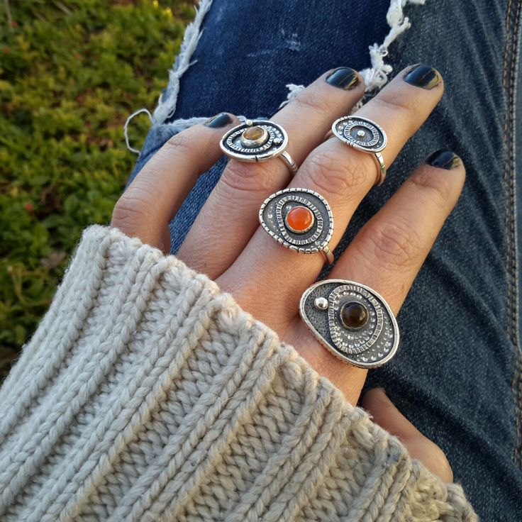 African inspired Evil Eye protection rings with Carnelian, Citrine and Smokey Quartz cabochon.