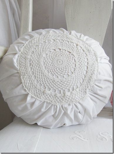 Doily Pillow Idea for DIY Whitewashed Cottage chippy shabby chic french country rustic swedish decor idea