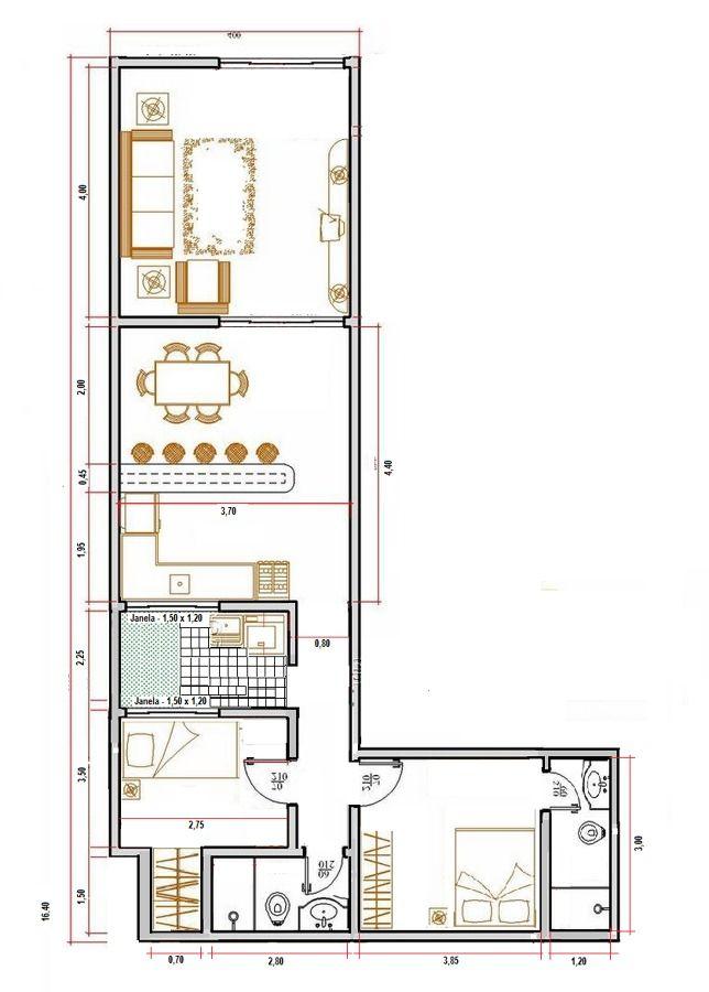 Terreno em l (24x4+5, 2*3), residencia tipo R1 baixo padrão.