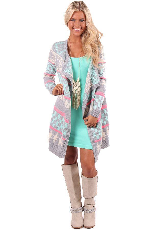 Lime Lush Boutique - Mint Aztec Cardigan With Asymmetric Hem, $64.99 (http://www.limelush.com/mint-aztec-cardigan-with-asymmetric-hem/)