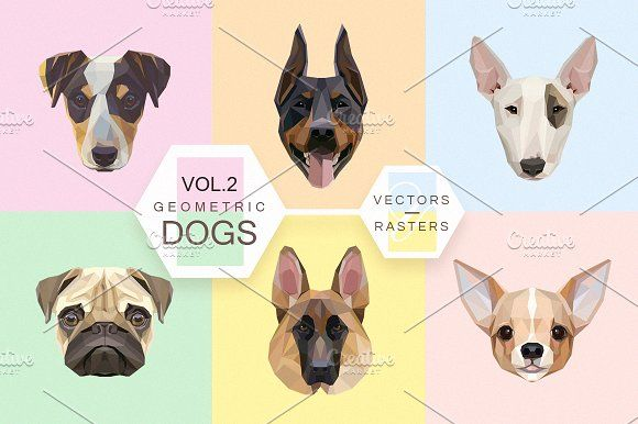 Geometric dogs vol.2 by Polar Vectors on @creativemarket