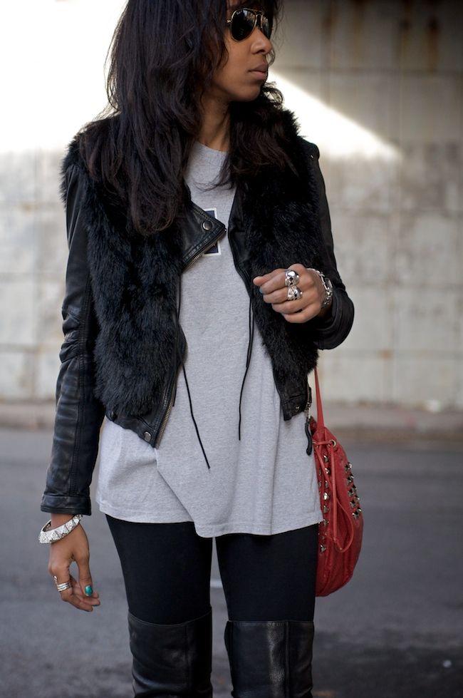 Jaqueta de couro + colete de pele
