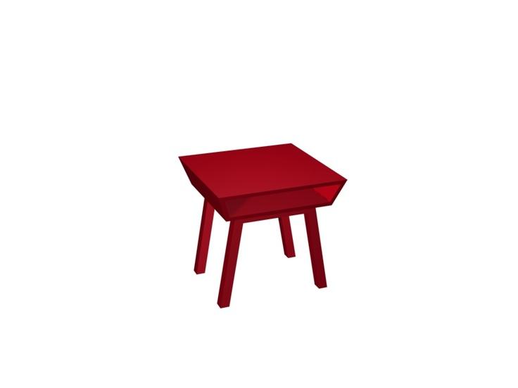 Very nice and modern red side table. A small table, design by the Swedish designer Björn Welander @WELANDER DESIGN