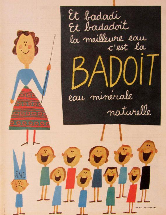 Jean Feldman Badoit publicité vintage datée par SomeVintagePapers, €14.00