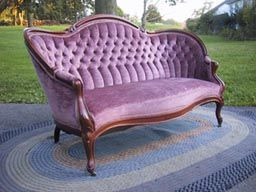 I am obsessed with Victorian couches - would love to recover in a bold modern fabric.