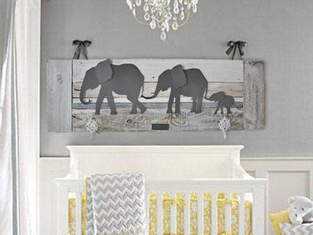 Elephant Nursery wall art - Baby room decor - Parade of elephants - Grey Elephants - Whitewash Reclaimed wood - Made in Austin, TX, USA by Authenticaa on Etsy https://www.etsy.com/listing/250132450/elephant-nursery-wall-art-baby-room