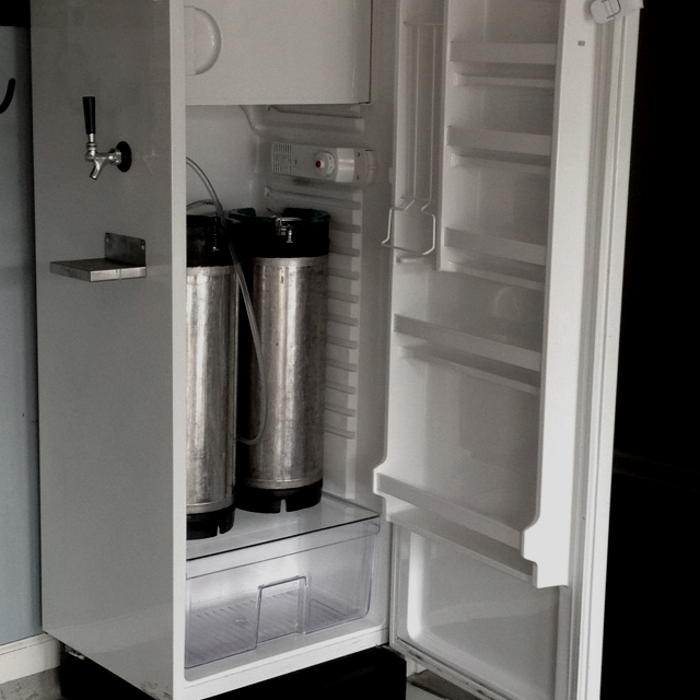Our homemade kegerator home brew pinterest for Home bar with kegerator space