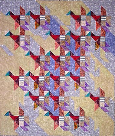 """""""Flight Pattern"""": 59"""" x 69"""" Hand pieced and hand quilted. Cotton fabric and…"""