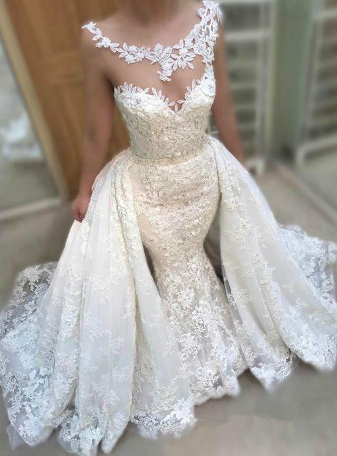 Mermaid White Lace Tulle Sleeveless Princess Train Wedding