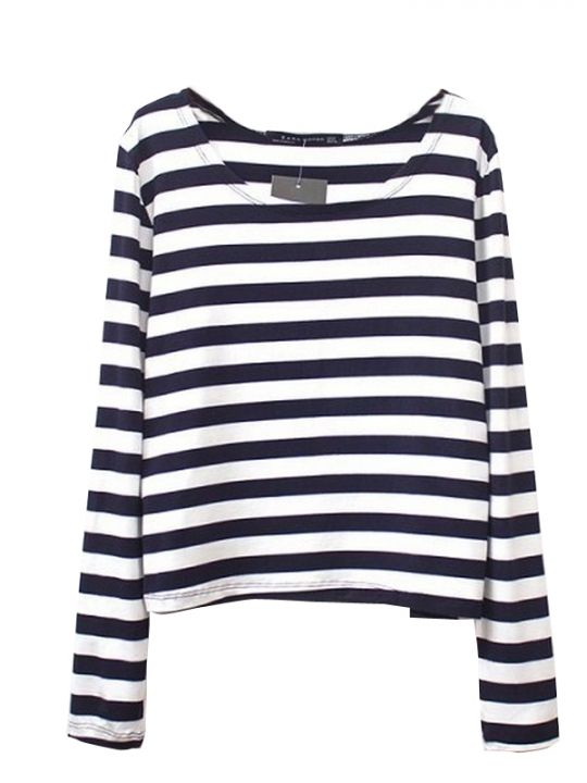 Latest Striped O Neck Modal Long Sleeve T Shirts