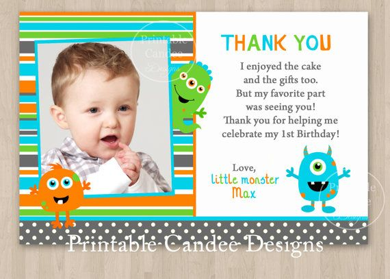Monster Thank You Party Little 1st Birthday Photo Card Printable DIY In 2018