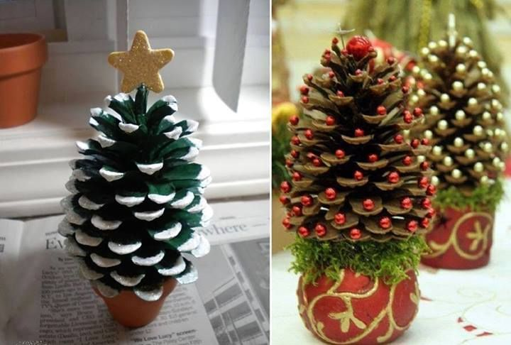 Pinecone trees for village or ornament or windowsill, or ??