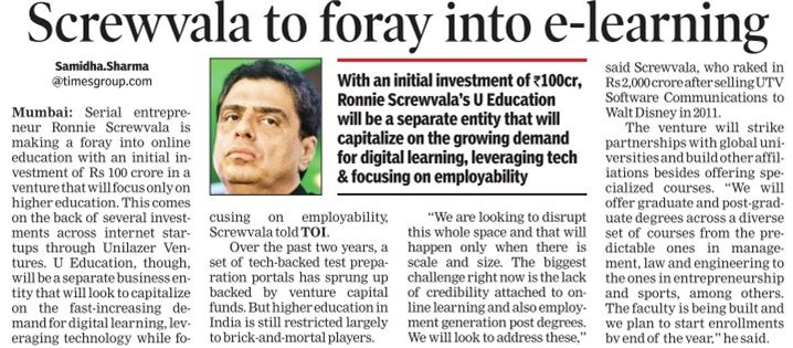 Screwvala to foray into e-learning