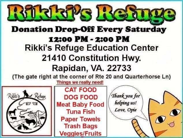 Saturday (12/27/14) is the last Donation Drop-Off for this year! Be there or be square! 12 PM – 2 PM — Bring food or supplies for the animals, drop off your goodies at Rikki's Refuge or our Re-Tail thrift store in Fredericksburg, and of course, cash, check, or charge also accepted! All of your donations are tax-deductible and receipts are available. See you tomorrow!