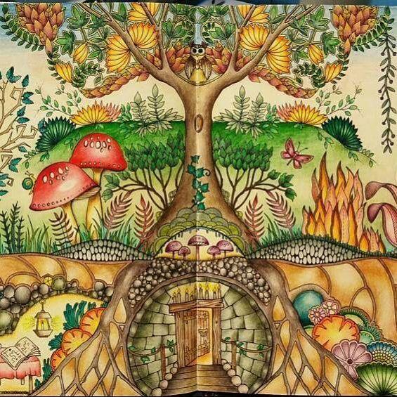 Espetáculo de página dupla! By @katka_coloring #florestaencantada #coloringbook…