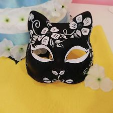 Half Face Hand-Painted Japanese Fox Mask Kitsune Cosplay Masquerade Halloween