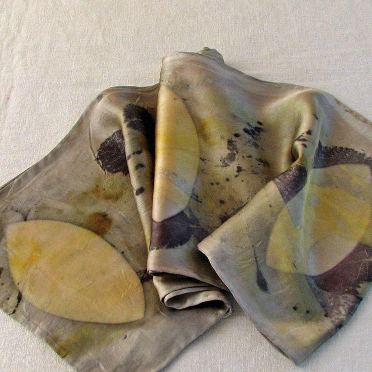 Ecoprint silk scarf, silk charmeuse, itajime shibori scarf, vesica piscis, golden eye shapes, natural plant dyes, hand... - Morgen Bardati