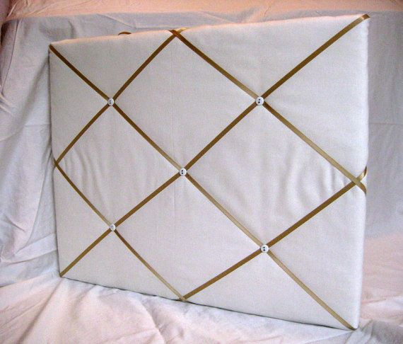 White/cream and tan/gold ribbon Memory Board French Memo Board 16x20, $30 plus shipping