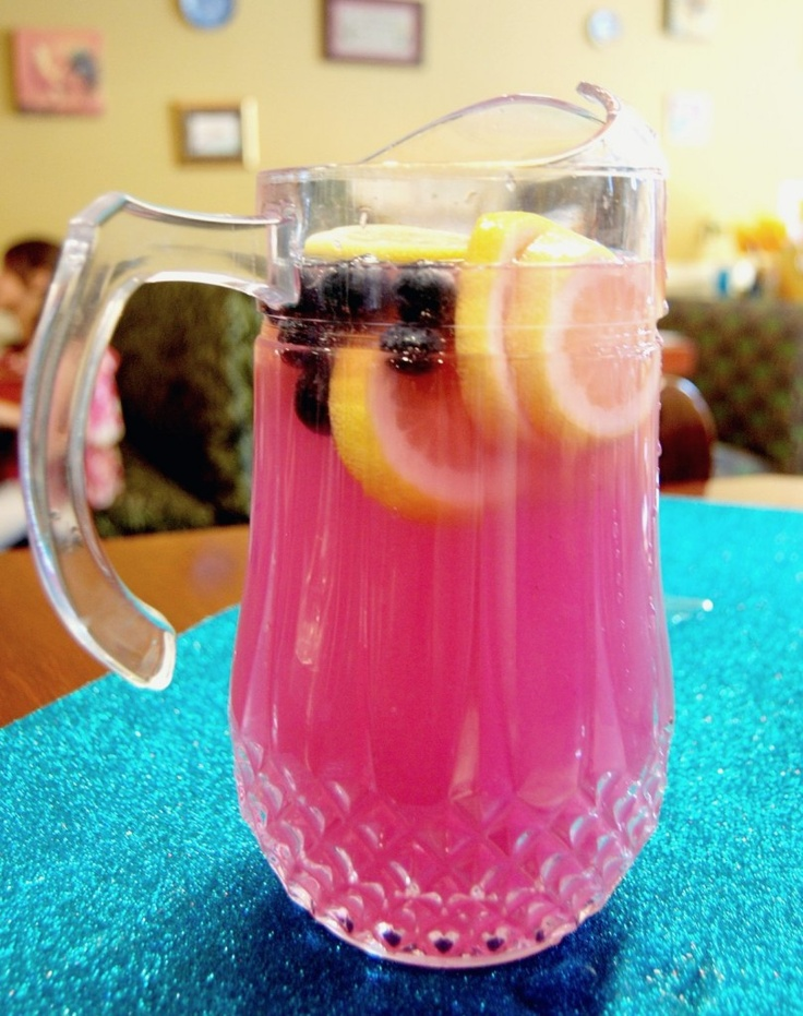 My version of Lavender Infused, Blueberry Pink Lemonade! You can also turn it into a yummy adult beverage by topping it off with Champagne or Vodka
