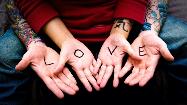 couple, tattoo, heart, love <3