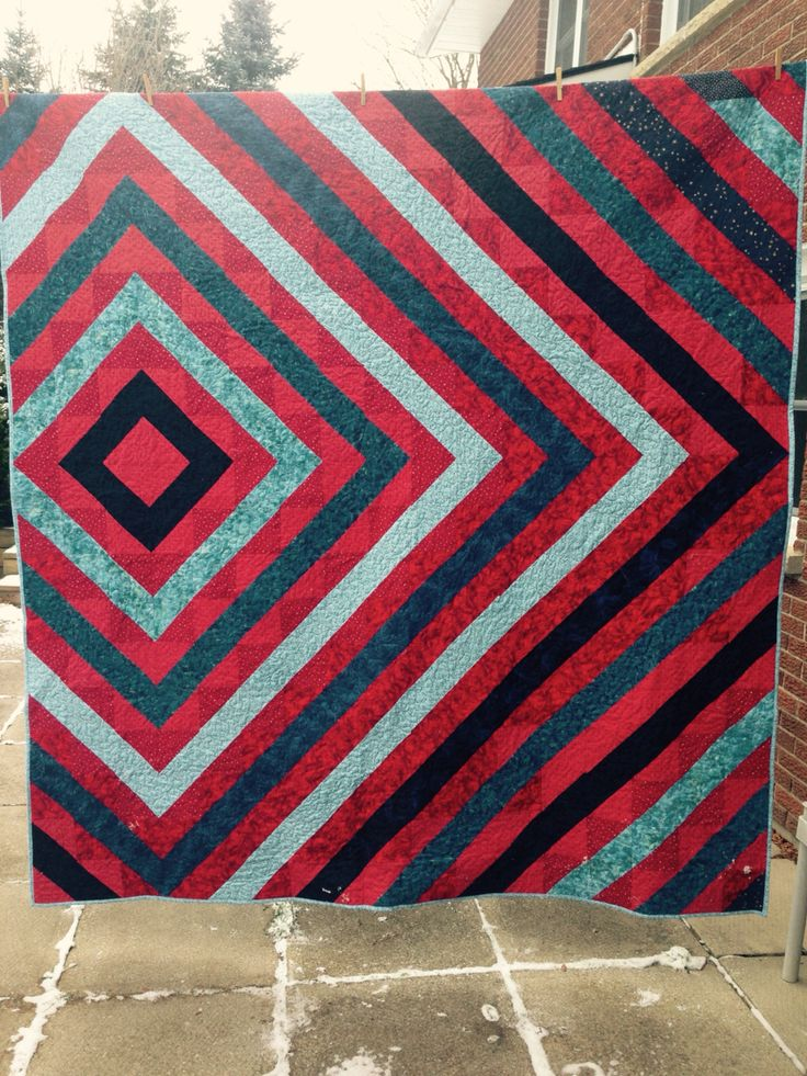 Nephew's quilt. Half Square Triangles give so many options!
