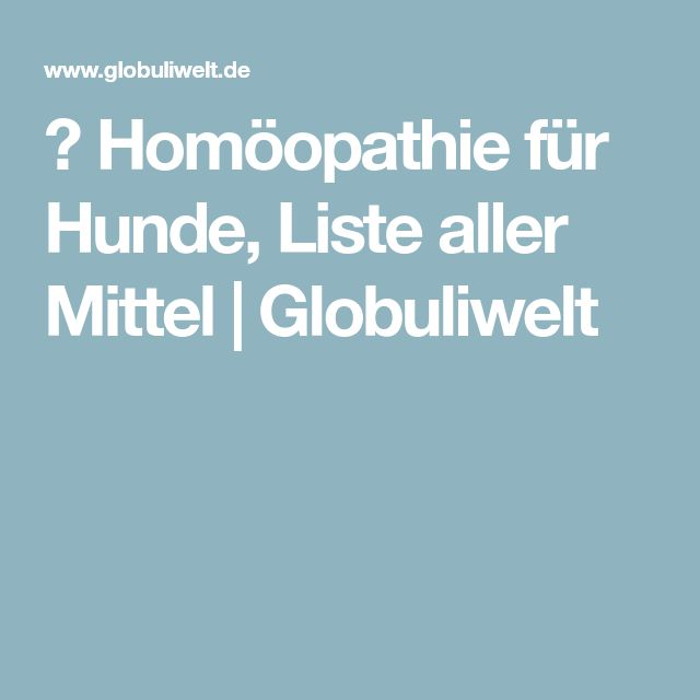 ᐅ Homöopathie für Hunde, Liste aller Mittel | Globuliwelt