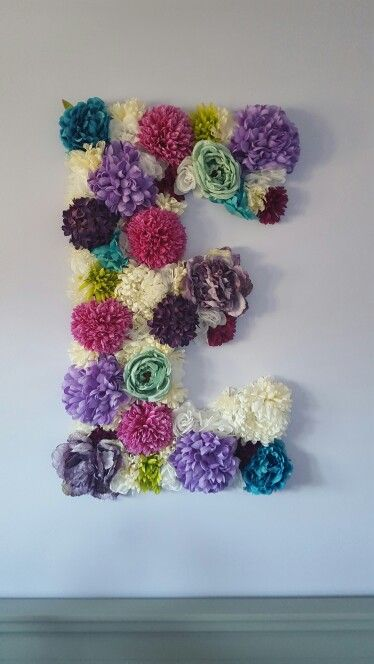 Floral Letter For Baby Girls Purple And Teal Nursery Above Crib.