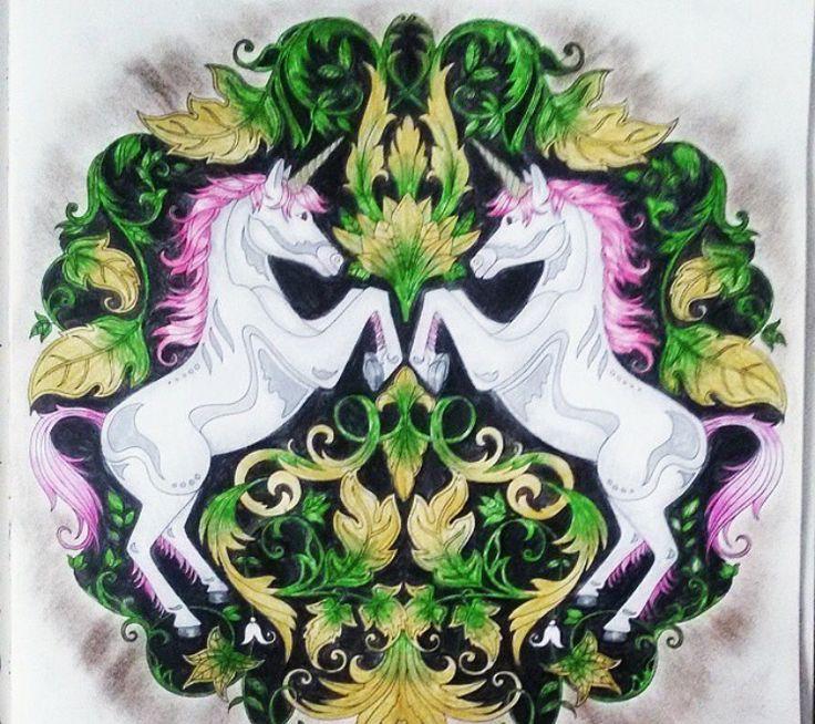 Unicorns Enchanted Forest Unicornios Floresta Encantada Johanna Basford Adult ColoringColoring BooksSecret GardensHorsesGardeningJohanna