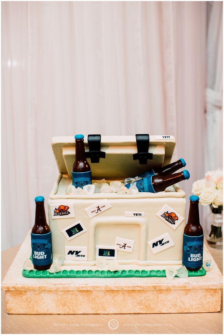 Memphis Peabody Hotel Wedding Ceremony Reception Venue | Christen Jones Photography | Southern Event Planners | Bud Light Beer Cooler Grooms Cake