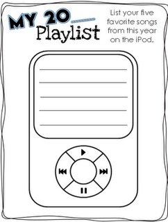 cute form for studentss to list their favorite songs-  good idea to gather songs for dancing, or pull their list to use for a game as a reward :)