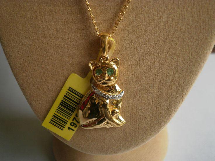 "Zambian Emerald & Diamond Cat 14K Y Gold/925 18"" Necklace #Pendant"