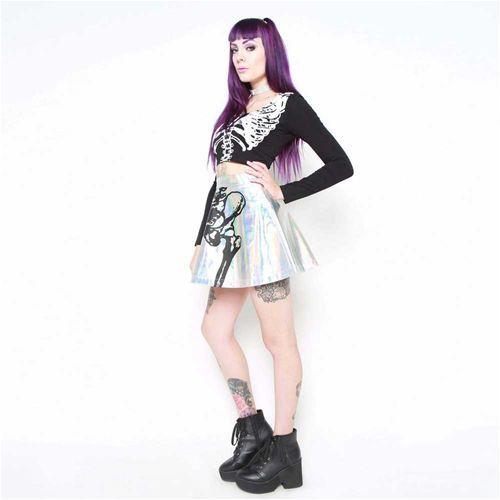 Wishbone hologram hoge taille rok met skelet print multicolours - Gothic Metal Grunge