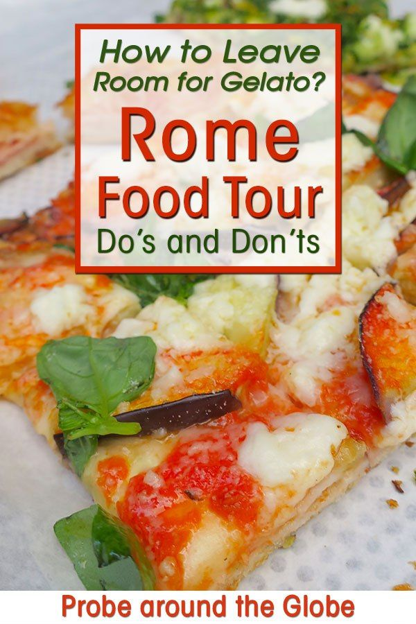 Taste the best food adventure with a food tour in Rome. How to leave room for gelato? Read this survival guide with do's and don't for your Rome food tour. #rome #pizza #foodie #foodtour #italia