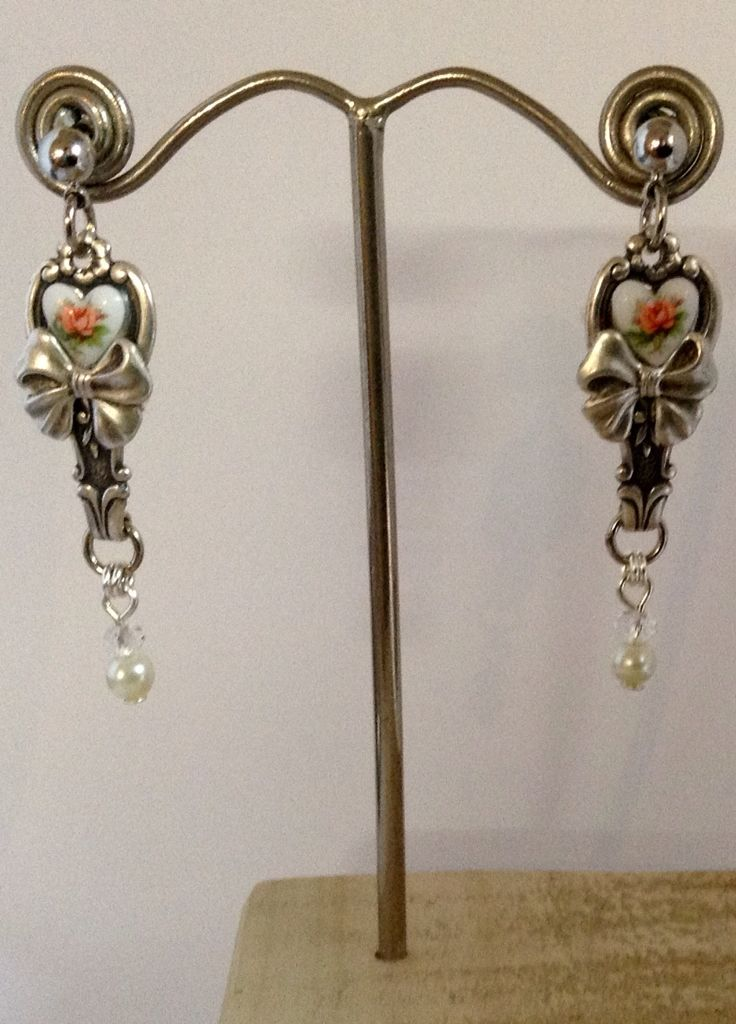 vintage Silverware earrings made from tiny spoon handles $20 or