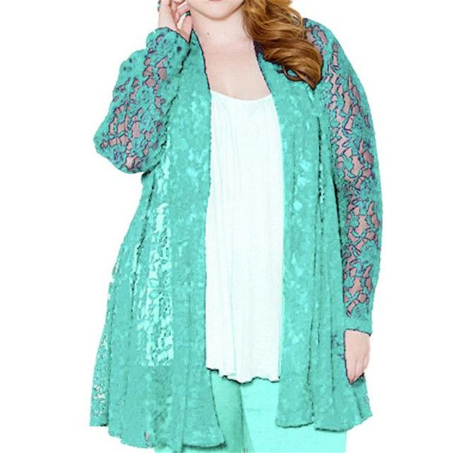 2017 Lady All Over Floral Lace Hollow Coat Cardigan Blouse Top Jacket Oversize Open Stitch Long Outwear Thin Casaco 38Se29