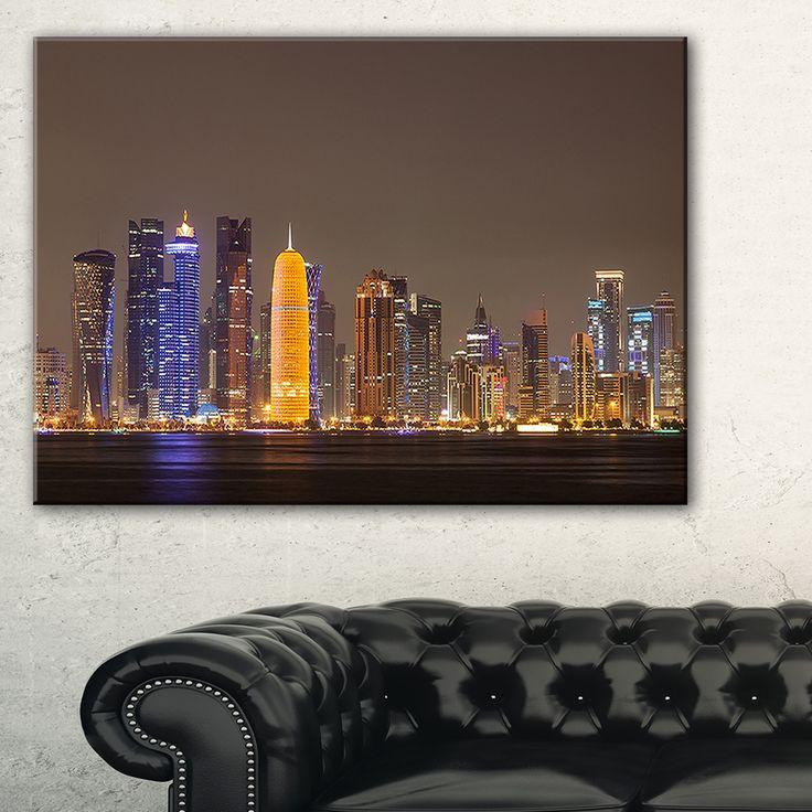 DESIGN ART Doha City skyline at Night Qatar - Cityscape print