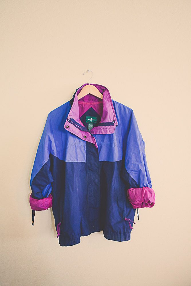 90's Windbreaker Navy blue Periwinkle Magenta Purple Jacket Coat Women's XL Hipster Preppy Style Active wear Sports  Parachute 80s  Club by 7CitiesVintage on Etsy