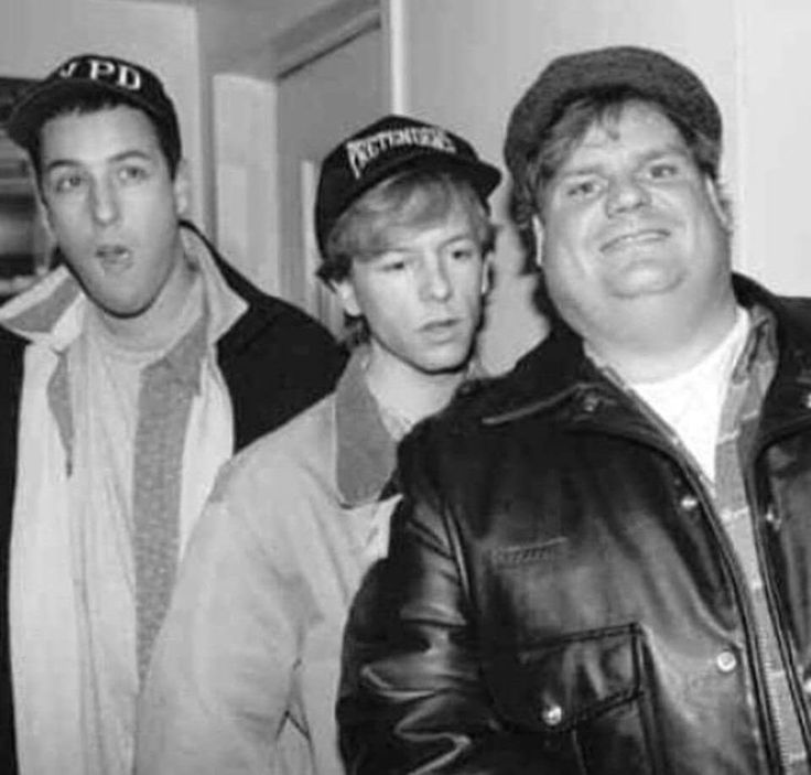 Adam Sandler David Spade and Chris Farley. Mid 1990s