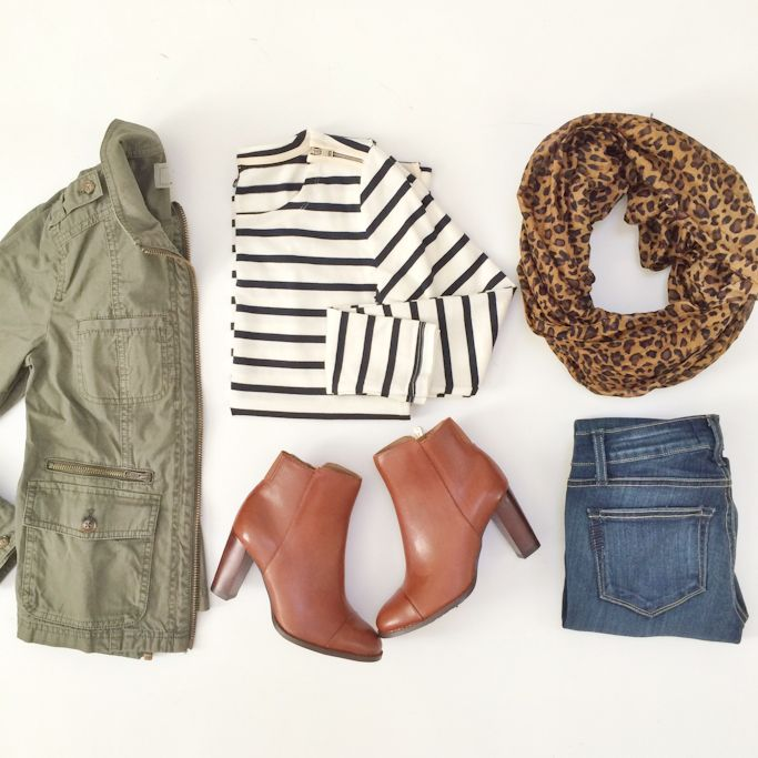 Utility jacket, cognac booties, striped shirt and leopard scarf, jeans