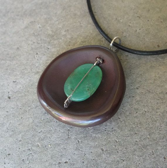 Reserved natural stone pendant necklace handmade artisan jewelr